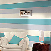 Stripe Wallpaper - Teal / Grey / Cream - E40931