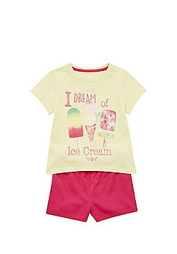 F&F Ice Cream Slogan Shorts Pyjamas - Yellow & Pink