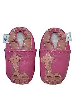 Dotty Fish Soft Leather Baby Shoe - Pink Giraffe - Pink