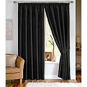 Dreams N Drapes Java Lined Curtain Including Tiebacks - 116.84cm x 137.16cm - Black