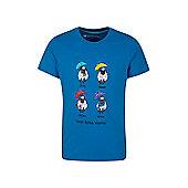 Great British Weather Kids Childrens Boys Girls Short Sleeve T-Shirt Tee Shirt - Blue
