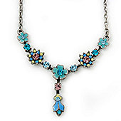 Vintage Inspired Enamel, Crystal Floral Y- Shape Necklace In Burn Silver - 36cm Length/ 4cm Extension