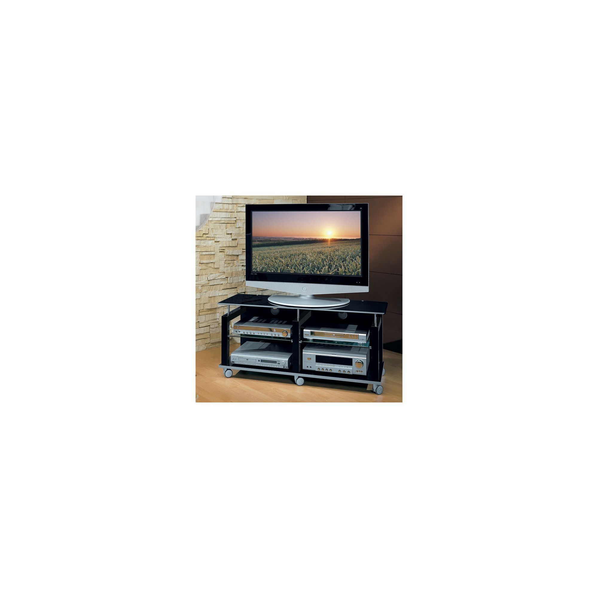 Triskom Wooden TV Stand for LCD / Plasmas - Black at Tesco Direct