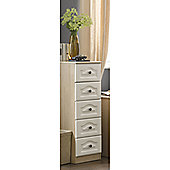 Alto Furniture Visualise 5 Drawer Tallboy Chest - Oak with Light Front