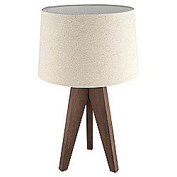 Tesco Tripod Table Lamp, Walnut/Linen Shade