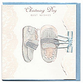 Blue Booties Christening Card