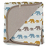 Pigeon Organics Reversible Blanket, Silhouette (Mustard Elephant Mix)