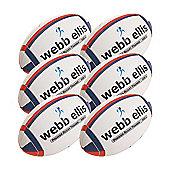 Webb Ellis Trainer Rugby Balls, 6 Pack, Size 5, Navy/Red