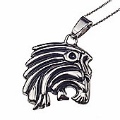 Solid Stainless Steel Men's Lion Symbol Pendant Polished Finish