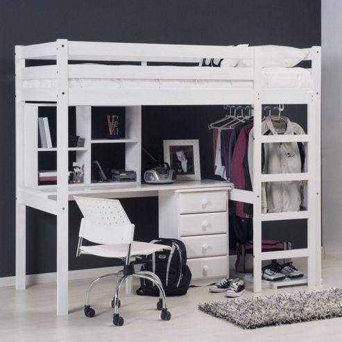 Verona Rimini High Sleeper Student Set with Storage - Whitewash