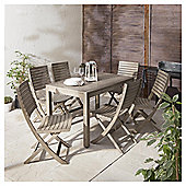 Porto 7-piece Distressed Effect Wooden Garden Dining Set