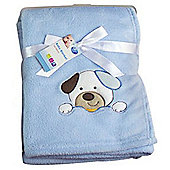 First Steps Supersoft Fleece Baby Blanket Blue Puppy 75x100cm