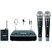 ProSound UHF Twin Handheld, Headset and Tie Clip Radio Mic Kit