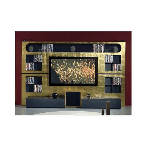 Triskom Metal Wall Entertainment Center TV Stand for LCD / Plasmas - Zebrano/ Italian Coffee