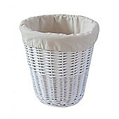 White Willow Wicker Round Waste Bin