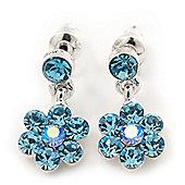 Delicate Light Blue Crystal Flower Drop Earrings In Silver Plating - 1.5cm Length
