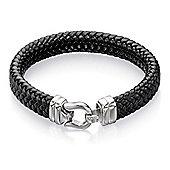 Mens Fred Bennett Tight Weave Black Leather Hook Clasp Bracelet - 21.5cm