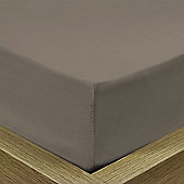 Julian Charles Percale Mocha Luxury 180 Thread Count Fitted Sheet - Double