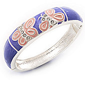 Lavender/Pink Enamel Hinged Butterfly Bangle In Rhodium Plated Metal - about 18cm Length
