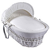Clair de Lune White Wicker Moses Basket (Cotton Candy Ivory White)