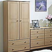Welcome Furniture Corrib Wardrobe with 2 Drawer - Light Oak - 95.5 cm W