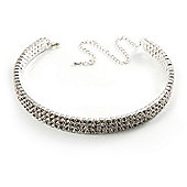 3-Row Swarovski Crystal Choker Necklace (Silver&Clear)