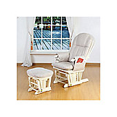 Tutti Bambini Deluxe Recliner Glider Chair with Stool in Vanilla
