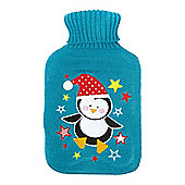 Linea Gwen Penguin Hot Water Bottle In Brown