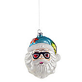 Large Santa in Sunglasses Glass Bauble with Blue Hat