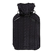 Linea Navy Cable Knit Hot Water Bottle In Brown