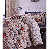 Catherine Lansfield Home Global Escapes Sights N Bikes Cotton Rich Fully Lined Curtains 66x72 Inches