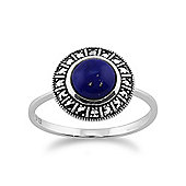 Gemondo 925 Sterling Silver Art Deco 1.53ct Lapis Lazuli & Marcasite Ring