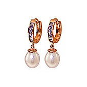 QP Jewellers Amethyst & Pearl Drop Huggie Earrings in 14K Rose Gold