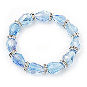 Light Blue Glass Bead With Clear Crystals Silver Rings Flex Bracelet - 18cm Length