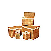 Wicker Valley Willow Chest and Waste Bin (Set of 3)