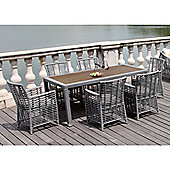 BrackenStyle Six Seat Rattan Dining Set & Cushions - Light Grey