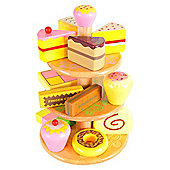 Bigjigs Toys BJ350 Wooden Play Food Cake Stand with 12 Cakes