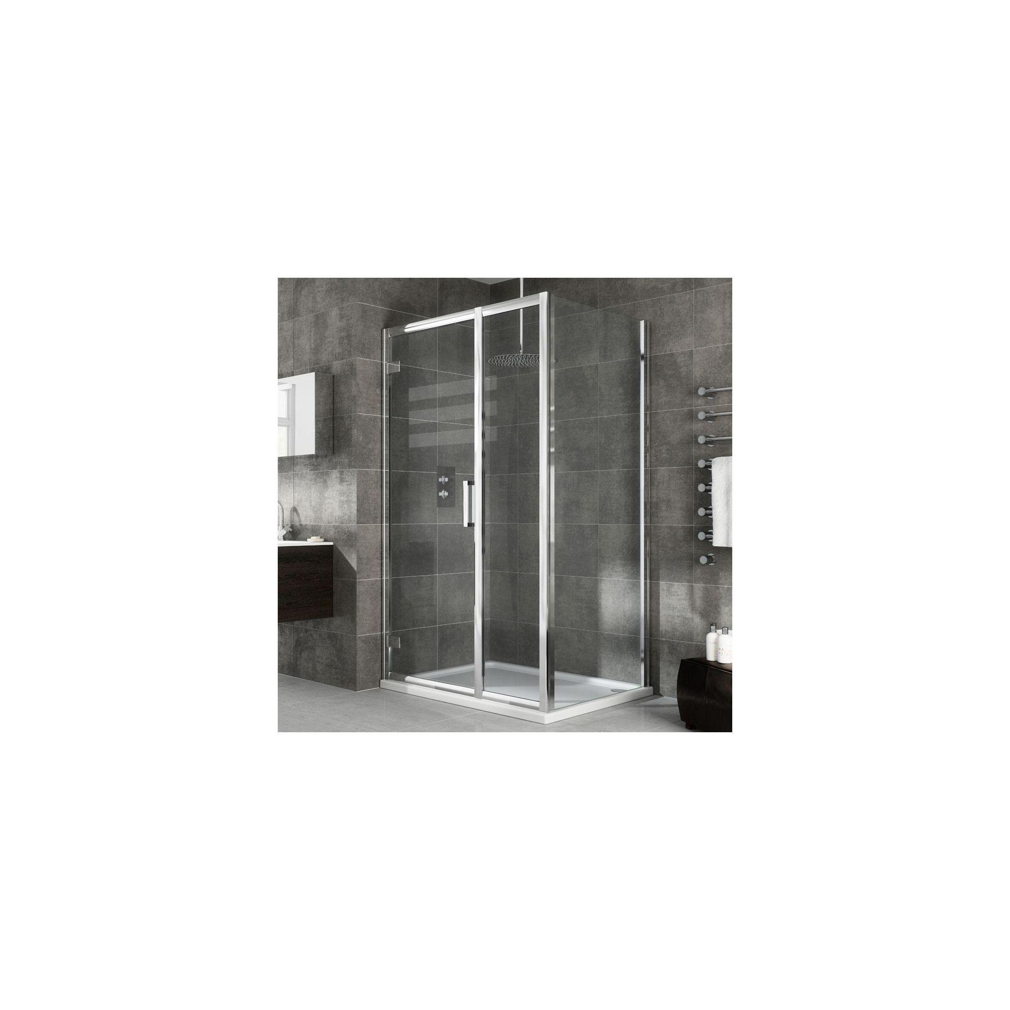 Elemis Eternity Inline Hinged Shower Door, 1400mm Wide, 8mm Glass at Tesco Direct