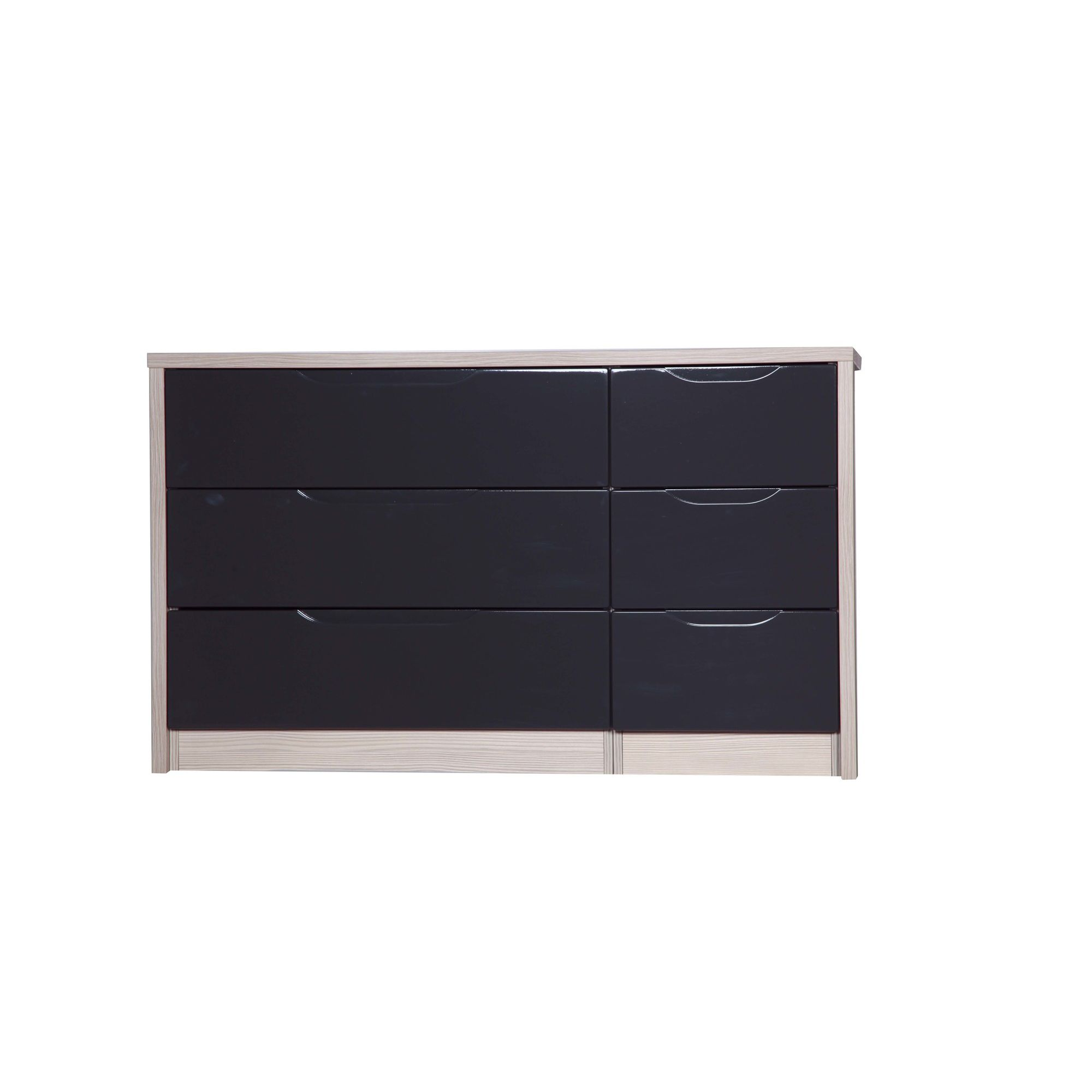 Alto Furniture Avola 6 Drawer Double Chest - White Avola Carcass With Grey Gloss at Tesco Direct