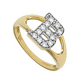 Jewelco London 9ct Gold Ladies' Identity ID Initial CZ Ring, Letter B - Size M