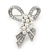 Small Contemporary Imitation Pearl Crystal Bow Brooch In Silver Plating - 4.5cm Length