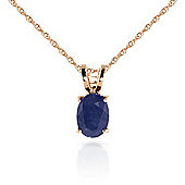 QP Jewellers 24in 0.68mm Oval Necklace with 1.0ct Sapphire Pendant in 14K Rose Gold