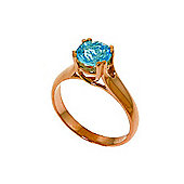 QP Jewellers 1.10ct Blue Topaz Solitaire Ring in 14K Rose Gold
