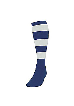 Precision Training Club Weight Stretch Nylon Hooped Football Socks - Navy & White