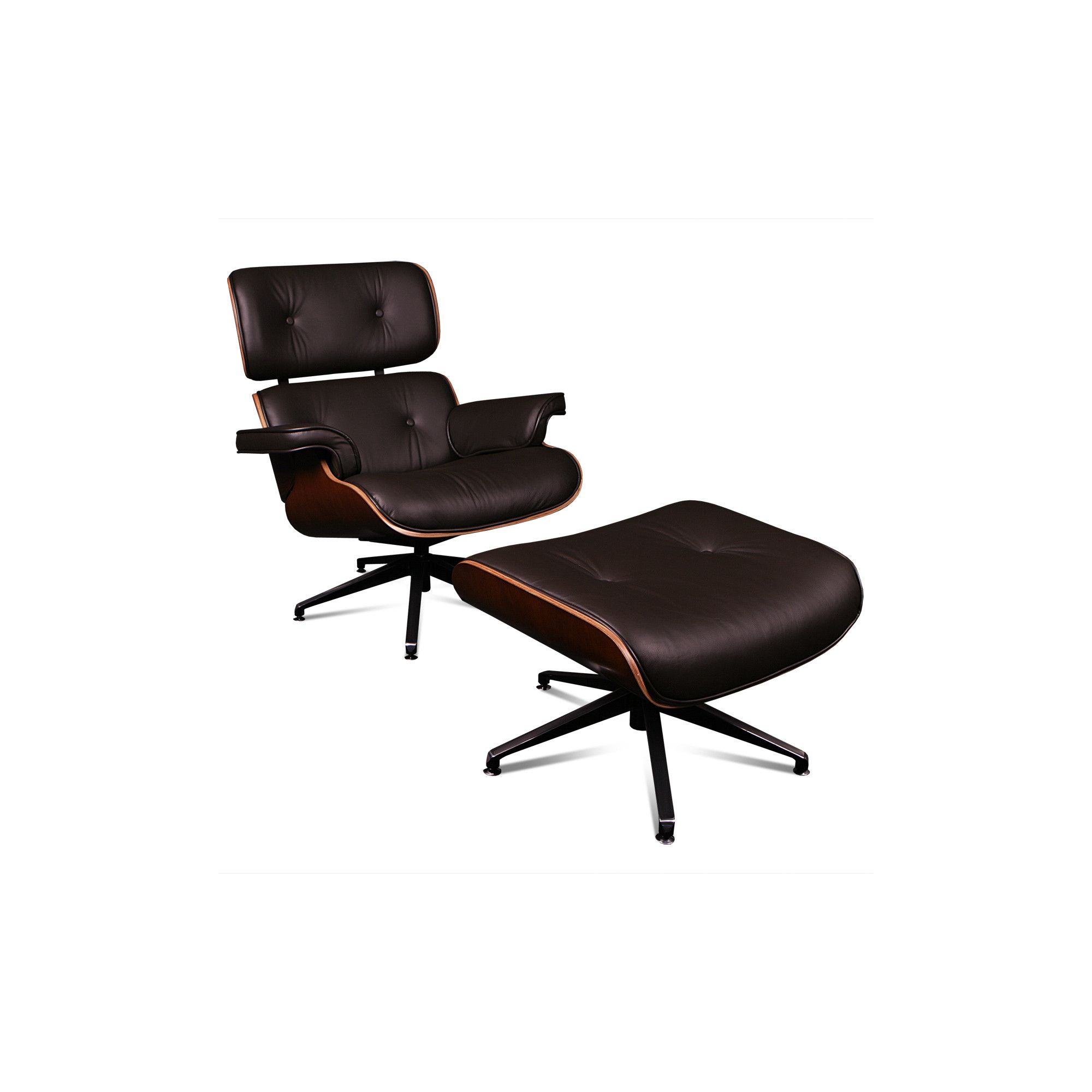 ProMech Racing Classic Leather Lounge Chair and Ottoman - Brown at Tesco Direct