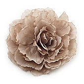 Oversized Light Grey Silk Fabric Rose Brooch - 16cm Diameter