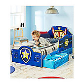 Paw Patrol Chase Toddler Bed with Storage & Foam Mattress