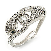 Stunning Swarovski Crystal Intertwined Snake Hinged Bangle Bracelet In Rhodium Plating - 17cm Length