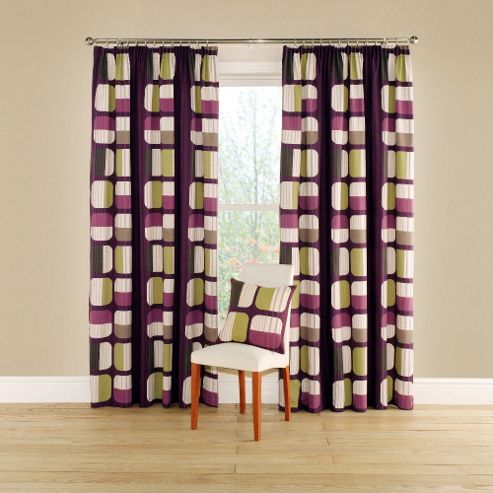 Apex Lined Curtains with Pencil Heading in Aubergine - 116cm Width x 137cm Drop