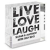 Personalised Live Love Laugh Medium Crystal Wedding Token